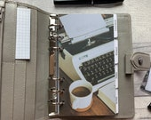 Personal Size Planner Dashboard - Protective Cover for your Ring Planner Inserts - Coffee and Typewriter