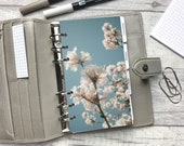 Personal Size Planner Dashboard - Protective Cover for your Ring Planner Inserts - Blue Sky Cluster Blossom
