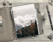 Winter Snowy Mountains Dashboard - Fits A5, B6, Personal Wide, Personal, A6, Pocket, Mini Ring Planners. Protective Cover.