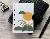 Pocket Size Planner Dashboard - Protective Cover for your Ring Planner Inserts - Burnt Orange & Green Abstract Landscape
