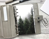 Personal Size Planner Dashboard - Protective Cover for your Ring Planner Inserts - Pine Trees and Fog