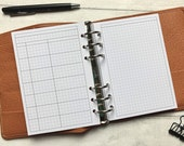 WO2P Sectional Undated Weekly with Notes Page. Minimal Grid Printed Insert - A5, B6, Personal Wide, Personal, A6 and Pocket Ring Planners
