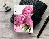 Pocket Size Planner Dashboard - Protective Cover for your Ring Planner Inserts - Bright Pink Peonies