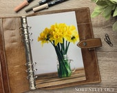 A5 Planner Dashboard - Protective Cover for Ring Planner Inserts - Yellow Daffodil Jar - Floral