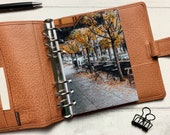 Autumn Street Cafe - Fits A5, B6, Personal Wide, Personal, A6, Pocket, Mini Ring Planners. Protective Cover.