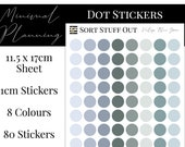 Vintage Blue Green Planner Dot Stickers - Colour Code your Planning. Minimal Planner Deco for All Planners. 80 Stickers on One Sheet
