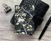 Pocket Size Planner Dashboard - Protective Cover for Ring Planner Inserts - White Blossom