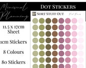Pink Peonies Planner Dot Stickers - Colour Code your Planning. Minimal Planner Deco for All Planners. 80 Stickers on One Sheet