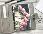 Personal Size Planner Dashboard - Protective Cover for your Ring Planner Inserts - Side View Pink Roses - Floral