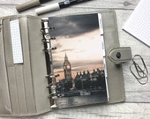 Personal Size Planner Dashboard - Protective Cover for your Ring Planner Inserts - London - Big Ben and Thames - Sunset