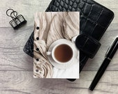 Pocket Size Planner Dashboard - Protective Cover for Ring Planner Inserts - Tea and Blanket - Cosy Neutral Aesthetic