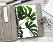 Personal Size Planner Dashboard - Protective Cover for your Ring Planner Inserts - Monstera Leaves - Foliage