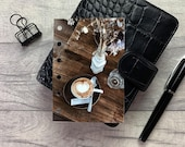 Cafe Table - Coffee Cup - Latte Art Dashboard - Fits A5, B6, Personal Wide, Personal, A6, Pocket, Mini Ring Planners. Protective Cover.