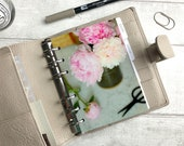 A6 Size Planner Dashboard - Protective Cover for Ring Planner Inserts - Peony Cuttings - Flowers in Vase - Pink Floral
