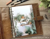 A5 Planner Dashboard - Protective Cover for Ring Planner Inserts - Terracotta Pot Plants - Foliage
