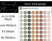Warm Neutral Greens Planner Dot Stickers - Colour Code your Planning. Minimal Planner Deco for All Planners. 80 Stickers on One Sheet