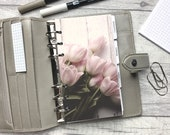 Personal Size Planner Dashboard - Protective Cover for your Ring Planner Inserts - Pale Pink Spring Tulips - Floral