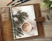 A5 Planner Dashboard - Protective Cover for Ring Planner Inserts - Pine and Coffee