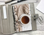 Tea and Blanket - Cosy Neutral Aesthetic Dashboard - Fits A5, B6, PW, Personal, A6, Pocket, Mini Ring Planners. Protective Cover. Minimal