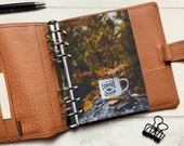 Autumn Coffee & Grace Dashboard - Fits A5, B6, Personal Wide, Personal, A6, Pocket, Mini Ring Planners. Protective Cover.