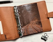 Autumn Forest Railway Dashboard - Fits A5, B6, Personal Wide, Personal, A6, Pocket, Mini Ring Planners. Protective Cover.