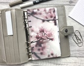 Personal Size Planner Dashboard - Protective Cover for your Ring Planner Inserts - Close-Up Cherry Blossom - Pink Floral - Sakura