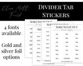 Divider Label Stickers - SET 3 - Clear Matt Stickers to Use on Your Ring Planner Tabs - 20mm Size. Great for Planner Organisation!