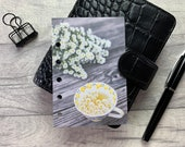 Pocket Size Planner Dashboard - Protective Cover for your Ring Planner Inserts - Calm Chamomile Tea - Yellow Flowers - Teacup