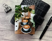 Latte Art and Foliage - Coffee Dashboard - Fits A5, B6, Personal Wide, Personal, A6, Pocket, Mini Ring Planners. Protective Cover.