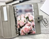 Rose Cluster - Pink Floral Dashboard - Fits A5, B6, Personal Wide, Personal, A6, Pocket, Mini Ring Planners. Protective Cover.