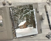 Winter Snowy Log Cabin Dashboard - Fits A5, B6, Personal Wide, Personal, A6, Pocket, Mini Ring Planners. Protective Cover.
