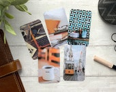 Journal Cards - Orange Tone Set - 5 Pack for Planner Deco - Use as Bookmarks, Decoration - Clip and Card Holder Options