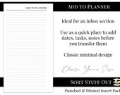 Add to Planner Printed Insert - Minimal Classic Design - A5, B6, Personal Wide, Personal, A6, Pocket and Mini Ring Planners