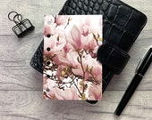 Pocket Size Planner Dashboard - Protective Cover for Ring Planner Inserts - Magnolia Cluster - Pink Floral