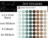 Teal and Tan Planner Dot Stickers - Colour Code your Planning. Minimal Planner Deco for All Planners. 80 Stickers on One Sheet