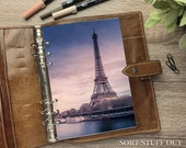 Eiffel Tower by Seine - Paris - Fits A5, B6, Personal Wide, Personal, A6, Pocket, Mini Ring Planners. Protective Cover.