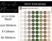 Paris Stone Green Brown Planner Dot Stickers - Colour Code your Planning. Minimal Planner Deco for All Planners. 80 Stickers on One Sheet
