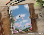A5 Planner Dashboard - Protective Cover for Ring Planner Inserts - Blue Sky & Pink Flowers - Floral