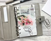 Personal Size Planner Dashboard - Protective Cover for your Ring Planner Inserts - Pretty Pink Flowers in Wheelbarrow Pot