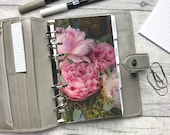 Personal Size Planner Dashboard - Protective Cover for your Ring Planner Inserts - Top Down Peonies - Pink & Green