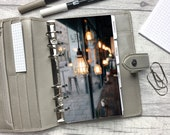 Personal Size Planner Dashboard - Protective Cover for your Ring Planner Inserts - Coffee Shop - Industrial Aesthetic - Minimal Planning