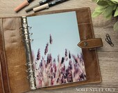 Lavender Field - Floral Dashboard - Fits A5, B6, Personal Wide, Personal, A6, Pocket, Mini Ring Planners. Protective Cover.