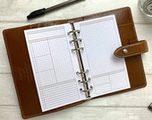 PRINTED - Personal Size Extended Daily Planner - Blank Headings for Your Own Use. Personal Size Rings. Neutral Minimal Grid Design.