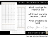 MO2P Monthly Undated - Minimal Grid Printed Insert - Fits A5, B6, Personal Wide, Personal, A6 and Pocket Ring Planners