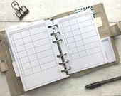 PRINTED - Basic Table Insert for A6 Rings. Neutral Accent Colour. Use for meals, fitness, weekly planning. Minimal  and Functional Planning.