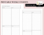 Printable PDF Weekly Vertical Grid WO2P Inserts for Personal Size Ring Planners