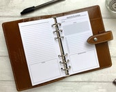 PRINTED - MO2P Insert with Focus, Notes, Tasks and Lined Area for Personal Size Rings. Also Fits LV MM and Kikki K Medium.
