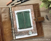 A5 Planner Dashboard - Protective Cover for Ring Planner Inserts - Brick Wall & Green Door