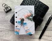 Pocket Size Planner Dashboard - Protective Cover for your Ring Planner Inserts - Turquoise Sweater - Flowers - Black Coffee