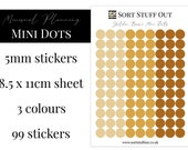 Golden Brown Mini Dot Stickers - Mark off Dates and Occasions - Minimal Functional Stickers - Small Sheet fits in Most Planners